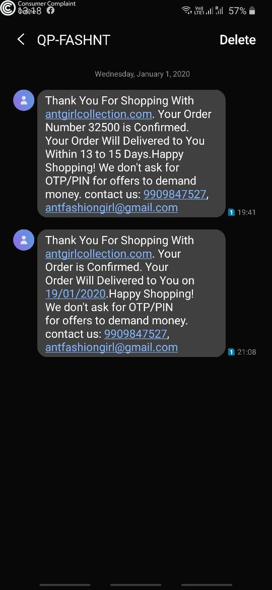 Ant girl collection Complaints - consumercomplaintonline.in