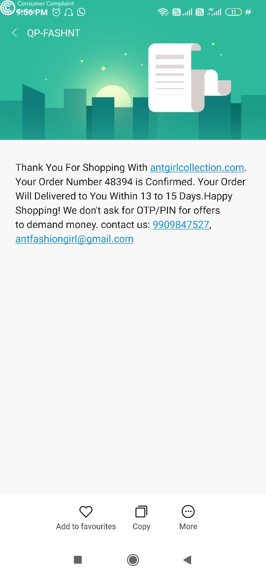Antgirlcollection  Complaints - consumercomplaintonline.in
